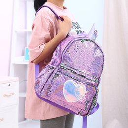 pu leather book bag Australia - Girls Fashion Sequins Unicorn Backpack Women PU Leather Large Capacity Bag Girl Book Bag Satchel School Bag For Teenager Student Y191102
