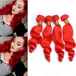 """$enCountryForm.capitalKeyWord Australia - Brazilian Bright Red Human Hair Loose Wave Weave Wefts 4 Bundles Pure Red Loose Wavy Human Hair Extensions Tangle Free Mixed Length 10-30"""""""