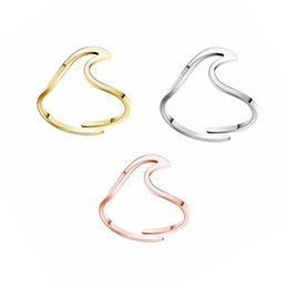 Wire Rings NZ - Summer Beach Adjustable Stainless Steel Wave Ring Handmade Wire Wrap Surf Rings For Women Island Jewelry Birthday Party Gifts Wedding Rings