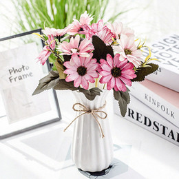 $enCountryForm.capitalKeyWord Australia - 10 Heads Artificial Gerbera Silk Flowers Vintage Literary Daisy Fake Flower Sunflower Wedding Decoration Home Decor Accessories