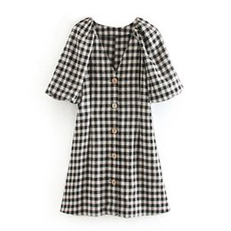 cotton lantern Australia - Fashion Women Plaid Cotton Mini Dress Lantern Short Sleeve Buttons Casual Dresses 2020 Summer V Neck Holiday Dress Sundress