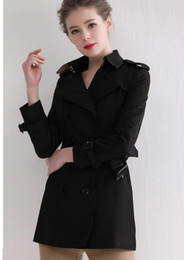 women s slim fit trench Canada - NEW CLASSIC! women fashion brand double breasted middle long trench coat top quality belted slim fit trench for women size S-XXL B6896F350
