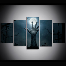 $enCountryForm.capitalKeyWord UK - 5 Piece Large Size Canvas Wall Art Halloween Cemetery Oil Painting Wall Art Pictures for Living Room Paintings Wall Decor