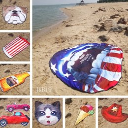 Towel Shapes Australia - Irregular Beach Towel American Flag Towels Football Blanket 155cm Summer Animal Fruit Shape Wrap Scarf Thick Yoga Mat Towel 4833