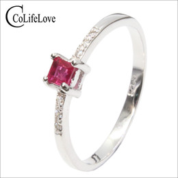 $enCountryForm.capitalKeyWord Australia - Simple design silver ruby ring 3 mm * 3 mm natural blood red ruby ring 100% real 925 silver ruby jewelry romantic gift for woman