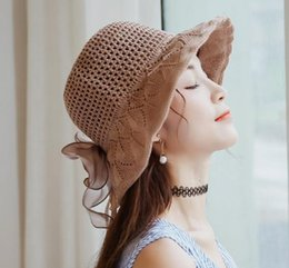 $enCountryForm.capitalKeyWord Australia - 2019 summer Korean temperament lace bow handmade woven hollow art ribbon dome sunscreen visor big hat female fashion