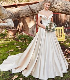 scalloped sleeve off shoulder wedding dress 2019 - Vestido de Novia Off the Shoulder Wedding Dresses Cheap Lace-up Back Beaded Waist Satin Simple Wedding Dress Bridal Gown