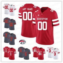Wholesale Custom Houston Cougars College Football Ed Oliver Case Keenum Red White Gray Stitched Any Number Name NCAA UH Jerseys