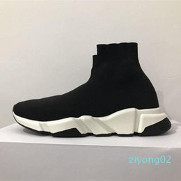 big box socks UK - With Box 2019 Speed Runner Shoes Sock Designer Shoes Triple Black Oreo Red Flat Trainer Men Women Shoes US4.5- US11.5 big z02