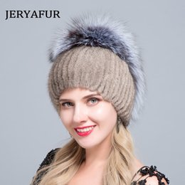 a0ba0a8a5f9f3 JERYAFUR 2018 New Russian style fur hat knitting wool fashion mink and Fox  Fur Hat Winter women s trip ski cap protects ears