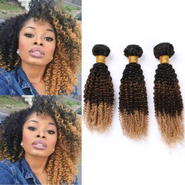 Blonde weave hair online shopping - B Ombre Human Hair Bundles Kinky Curly Dark Roots Hair Extensions Black Brown to Honey Blonde Ombre Brazilian Virgin Hair Weaves