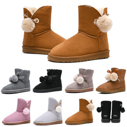 Round bow online shopping - New Designer Women Boots Australia Classic Bailey Hairball Bow Tie Snow Booties Ankle Knee Girls Ladies Fashion Winter Boot