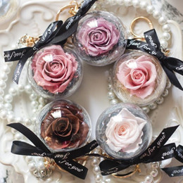 Wholesale preserve flowers online – design Rose In Glass Creative Wedding Gift Present Preserve Flower Pedant Hanging Keychain Pearl Pearl Bracelet Eternal Rose