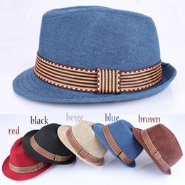 Wholesale Kids Fedora Hat Boys Girls Unisex Fedora Cap Child British Jazz Noble Temperament Style Hat Trim Cool cowboy caps LJJA2489