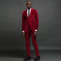 $enCountryForm.capitalKeyWord Australia - Slim Fit Velvet Mens Prom Suits Peaked Lapel Wedding Suits For Men Long Sleeves Groomsman Tuxedos Two Pieces Blazers Jacket+Pants