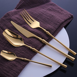 24 Pcs Stainless Steel Tableware Gold Cutlery Set Knife Spoon and Fork Set Dinnerware Korean Food Cutlery Kitchen Accessories on Sale