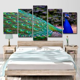 $enCountryForm.capitalKeyWord Australia - HD Printed 5 Piece Canvas Art Peacock Bird Colorful Painting Wall Pictures for Living Room Free Shipping
