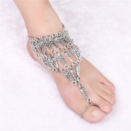 Anklet Toe Chain Australia - Vintage Multilayer Coin Anklets Beach water drop Tassels Foot Chain with Toe Ring