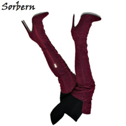 RubbeR thigh length boots online shopping - Warm Winter Boots Women Mid Thigh High Lace Up High Heel Stilettos Multi Colors Custom Shaft Length Big Size Boots Gey