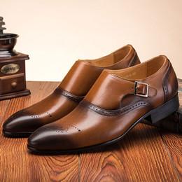 $enCountryForm.capitalKeyWord Canada - Masorini Men Dress Shoes Vintage Brogue Oxford Shoes Fashion PU Leather Double Monk Buckle Strap Wedding Formal WW-572