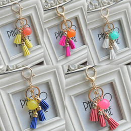 Phone Chain Color Australia - 2019 New Style Candy Color Acrylic Beads Tassel Pendant Keychain Key Ring For Bag Car Key Chain Phone Fashion Accessories Free DHL B801Q A