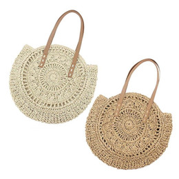 wholesale cotton beach totes UK - Round Woven Hollowed Shoulder Handbags Women Shopping Totes for Ladies Summer Beach Knitted Top-handle Bags 2019 Hot Selling