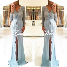 Prom Dress Chiffon Slit Crystal Australia - Elegant Long Sleeve Deep V-Neck Crystal Beading Prom Dresses 2019 Slit Evening Gowns vestidos de fiesta long Formal Dresses robe de soiree