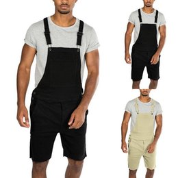 Overall Jumpsuits Australia - 2019 New Mens Casual Retro Denim Bib Overall Shorts Pants Summer Autumn Solid Jeans Jumpsuit For Male Rompers Plus Size