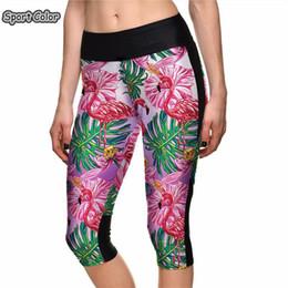 d1e84d5e84 Popular High Waist Women Mid-Calf Leggings Sexy Girls Fitness Yoga Cropped  Trousers Elastic Pink Birds Flowers Breathable Capris