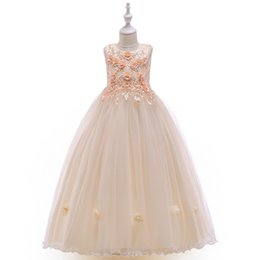 China high quality kids Evening Dresses Princess skirt girl flower beaded catwalk dress small host piano costume Formal Prom Party Gowns Special O cheap girls piano dress suppliers