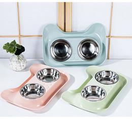 Aço Cat Double Dog Bowls inoxidável Pet Bowls comedouro água No Spill para pequenos animais em Promoção