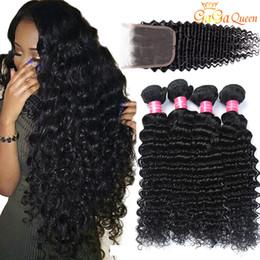البرازيلي موجة عميقة مع إغلاق حزم الشعر مع 4x4 إغلاق 3 حزم البرازيلي عذراء الشعر مع إغلاق غير المجهزة شعرة الإنسان ينسج