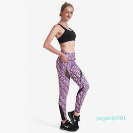 gauze yoga pants NZ - Geometry Square Gauze Splice Yoga Leggings Women's Professional Sports Pants for Gym Fitness Exercises Running Pants