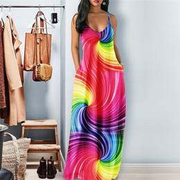 Colorful Gradient Sling Long Bodycon Dress Rainbow Striped Stars Women Maxi Dress Ladies Long Slim Dresses Beach Party Dress Clothing C62707 on Sale