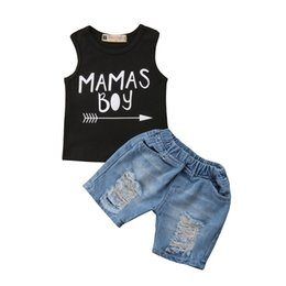 hoodies t shirt outfits NZ - 2PCS Cool Kids Boys Baby Clothes Sets Summer Hoodie T-Shirt Tops + Short Jeans Outfits Newborn Toddle Children Sport Suits