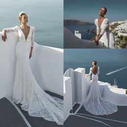 Designer Beaded Wedding Dresses Australia - 2019 Designer New Beach Long Sleeves Lace Sheath Wedding Dresses Plunging V Neck Beaded Sequined Sexy Backless Bridal Gowns