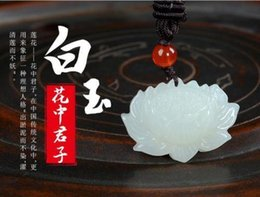 Jade Carved Face Pendant Australia - Koraba Fine Jewelry 100% Natural Hand-carved Chinese Hetian Jade Pendant Lotus Flower Free Necklace Free Shipping