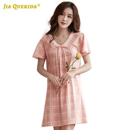 Wholesale night shirts for women online – design 100 Cotton Short Sleeve Pink Soft Night Gown Nighties for Woman Night Wear Home Dress Long Shirt Summer V Neck Plaid Printing