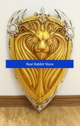 Weapons Cosplay Australia - [TOP] 1:1 Scale 61cm simulation WOW King Llane Lion Shield resin weapons model adult children cosplay toys collection gift