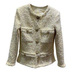 $enCountryForm.capitalKeyWord Australia - Goodlishowsi 2019 Winner Casual Fashion Women Tweed Slim Coat Top Solid Single Breasted Diamonds Buttons O-Neck Full Sleeve