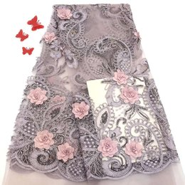 $enCountryForm.capitalKeyWord UK - Madison Latest African Lace Fabric 2019 High Quality Laces Pink Flowers Applique Trim High Quality Lace For African Wedding