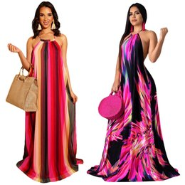Wholesaler For Plus Size Dresses UK - Flower Printing Stripe Mopping Floor-length skirt Women Plus Size Soft Dress Sexy Off Shoulder Wear For Beach Shopping Gift Wear S-3XL HT223