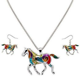 $enCountryForm.capitalKeyWord UK - COLORFUL HANDSOME HORSE DRIP OF OIL EARRING NECKLACE 2IN1 JEWELRY SET FASHION HOT POPULAR PARTY ACCESSORIES EARRINGS JEWELRIES NECKLACES SET