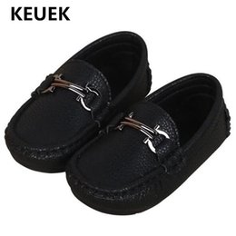 kids dress shoes boys NZ - New Spring Autumn Flats Children Leather Shoes Boys Black Dress Shoes Baby Toddler Loafers Kids Student 02B