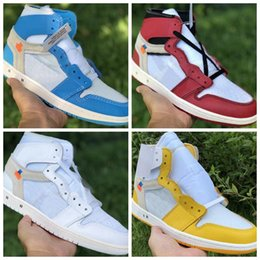 white leather athletic shoes Australia - 2019 NEW OFF High Basketball Shoes 1s 1 Yellow blue red White Leather Designer Mens Women High Athletic Sport Sneaker Desginer shoes