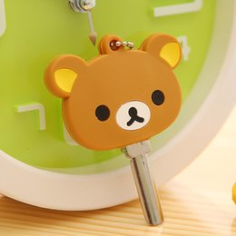 Wholesale Cute Key Chain Cartoon Anime Key Cover Cap Silicone Stitch Bear Keychain Women Gift Owl Porte Clef Hello Kitty Minne