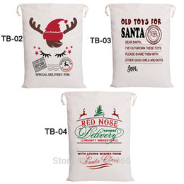 santa sacks large Australia - 30pcs Christmas Stocking Bags Bulk Decorations Santa Sacks Drawstring Canvas Bag Large Santa Claus Party Gift Kids Toys