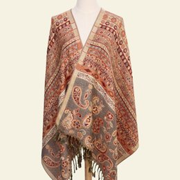 Cotton Winter Scarves Australia - Paisley Tippet From India Winter Scarf Ethnic Scarves Fashion Stole Cotton Indian Echarpe 190*70cm