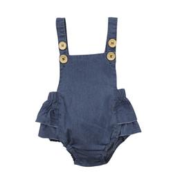 $enCountryForm.capitalKeyWord UK - Hot Sale Denim Sleeless Romper Newborn Baby Girl Ruffle Jeans Romper 2018 Summer Fashion Jumpsuit PP Pants Sunsuit Baby