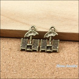 chairs charm Australia - Wholesale 250 pcs Vintage Charms Beach chairs Pendant Antique bronze Fit Bracelets Necklace DIY Metal Jewelry Making